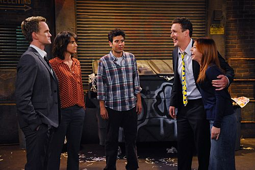 """""""Ducky Tie"""" -- """"The Ducky Tie"""" - Marshall (Jason Segel, right) and Lily (Alyson Hannigan, right) make a bet with Barney (Neil Patrick Harris, left), while having dinner with Robin (Cobie Smulders, second left) and Ted (Josh Radnor, center) at Shinjitsu, that could force him to wear Marshall's ducky tie on HOW I MET YOUR MOTHER, Monday, Sept. 26 (8:00 - 8:30 PM ET/PT) on the CBS Television Network  Photo: Ron P. Jaffe/CBS ©2011 CBS Broadcasting, Inc. All Rights Reserved."""