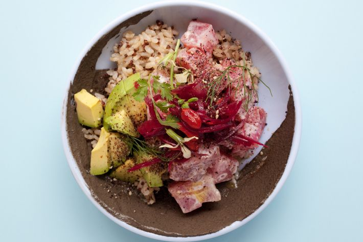 Tiger bowl with tuna, leche de tigre, avocado, and sesame.
