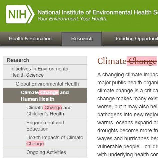 NIH Website Deletes Climate Change References