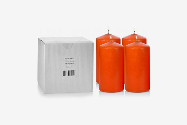 Light in the Dark Unscented Orange Pillar Candles, 6-Inches Tall by 3-Inches Wide (Set of 4)