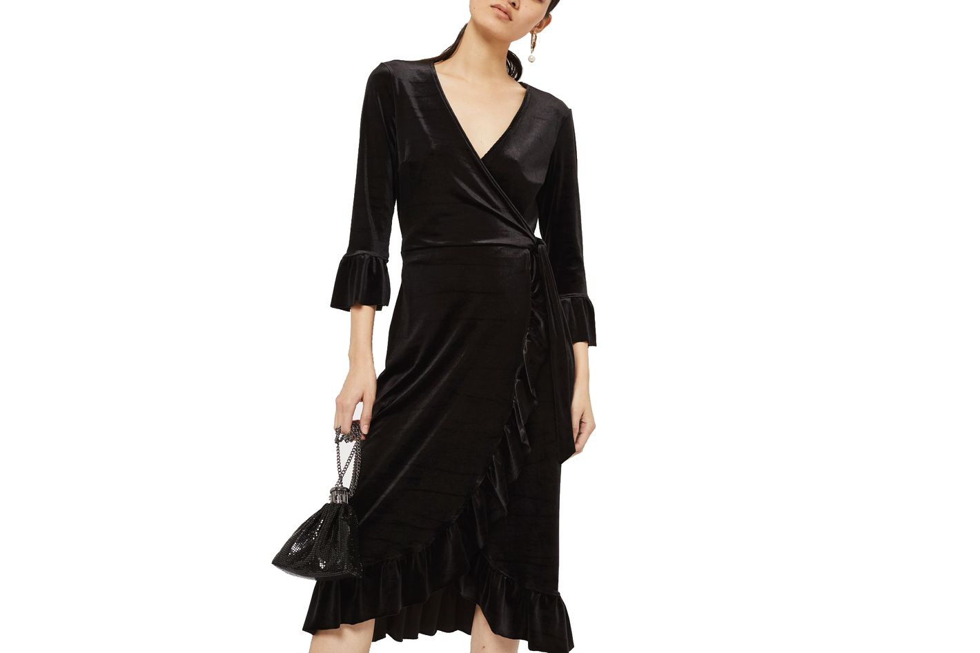 Velvet Wrap Dress by YAS
