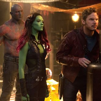 film still - Marvel's Guardians Of The Galaxy L to R: Drax the Destroyer (Dave Bautista) , Gamora (Zoe Saldana) & Peter Quill/Star-Lord (Chris Pratt) Ph: Jay Maidment ??Marvel 2014