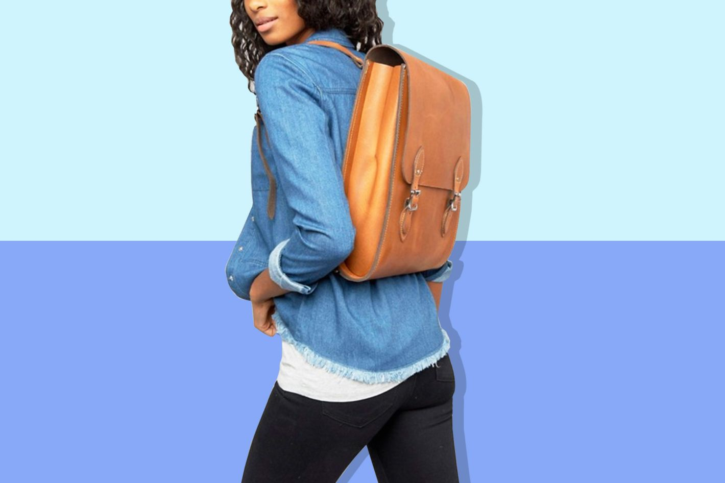 Leather Satchel Company Rounded Medium Backpack in Oak