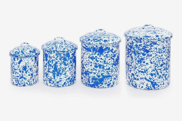 Enamelware 4 Piece Canister Set — Blue Marble