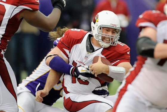 Brian Robison #96 of the Minnesota Vikings sacks John Skelton #19 of the Arizona Cardinals during the fourth quarter of the game on October 21, 2012 at Mall of America Field at the Hubert H. Humphrey Metrodome in Minneapolis, Minnesota. The Vikings defeated the Cardinals 21-14.