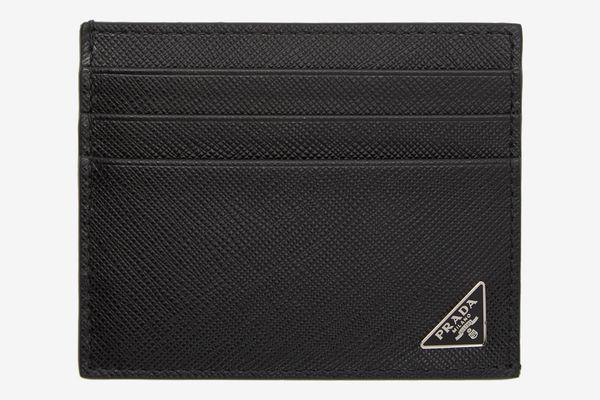 PradaBlack Saffiano Triangle Card Holder