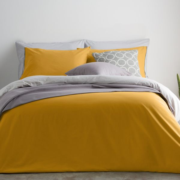 Solar Cotton Reversible Duvet Cover + 2 Pillowcase, Double, Mustard/Mist Grey UK
