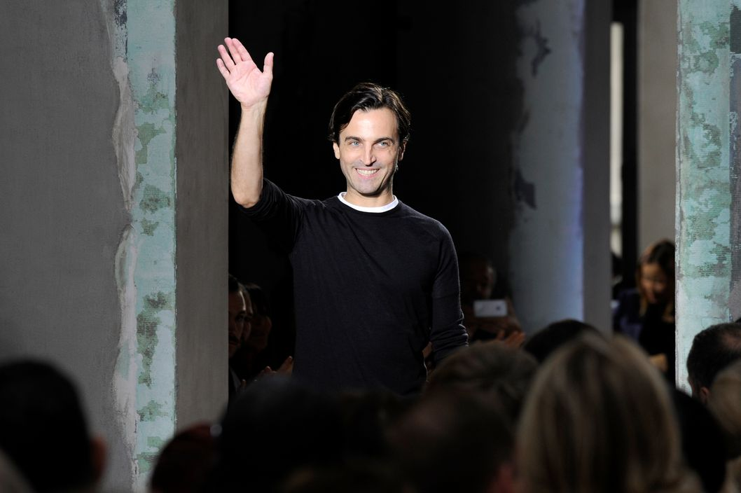 Designer Nicolas Ghesquiere on the runway after Balenciaga's spring 2013 show.