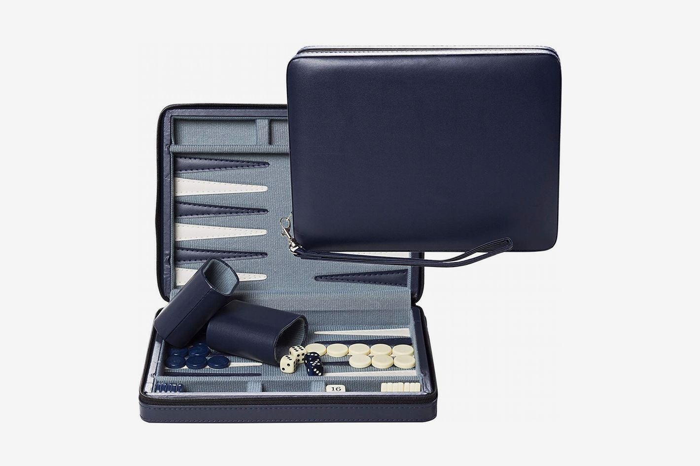 WE Games Blue Magnetic Backgammon Set With Carrying Strap