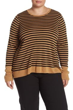 Eileen Fisher Striped Round Neck Top (Plus Size)