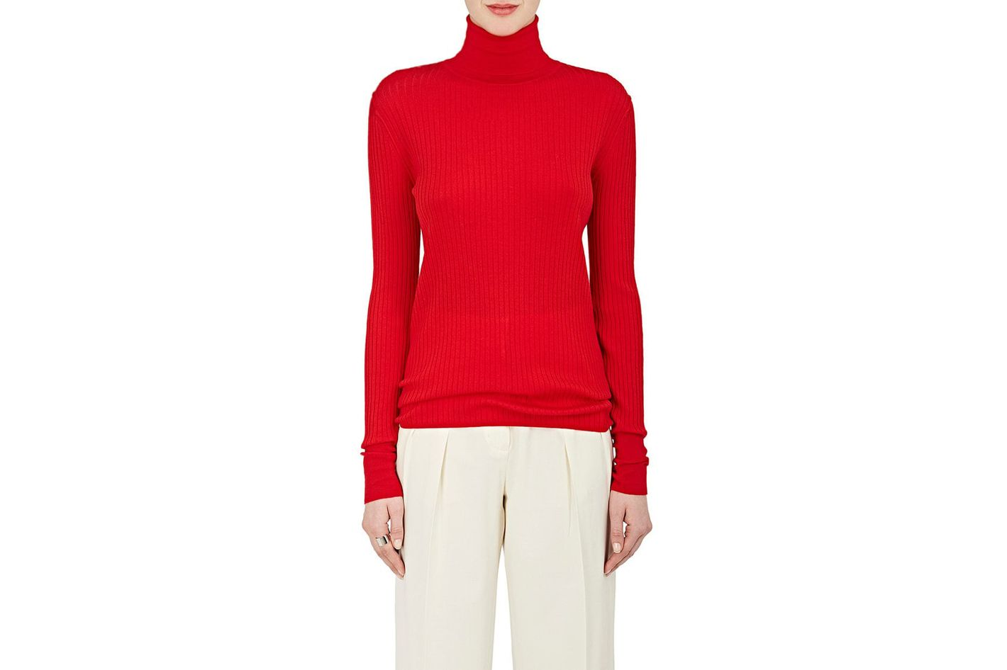 Rib-Knit Wool Long-Sleeve Turtleneck