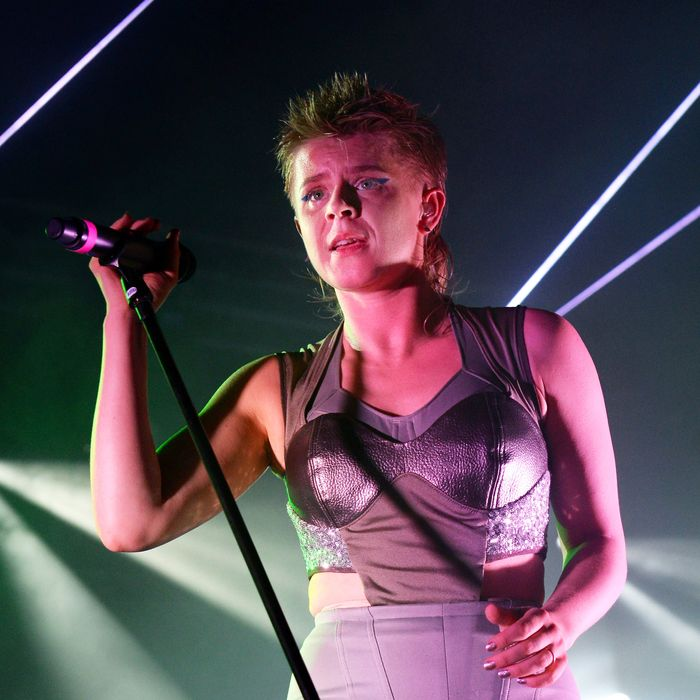 SOUTHWOLD, ENGLAND - JULY 19: Robyn performs with Royksopp on the BBC Radio 6 Music stage at the Latitude Festival at Henham Park Estate on July 19, 2014 in Southwold, England. (Photo by Matthew Baker/WireImage)