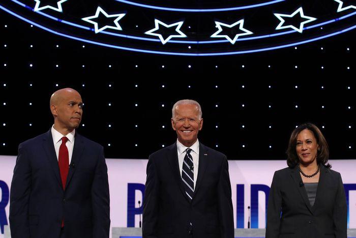 From left to right: Cory Booker, Joe Biden, Kamala Harris.