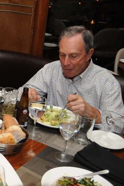 Mayor Michael Bloomberg at the Blue Fin restaurant.