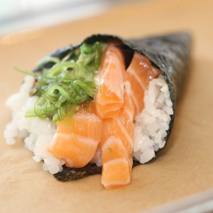 Isara salmon temaki with seaweed salad and creamy miso — yours for just $6.