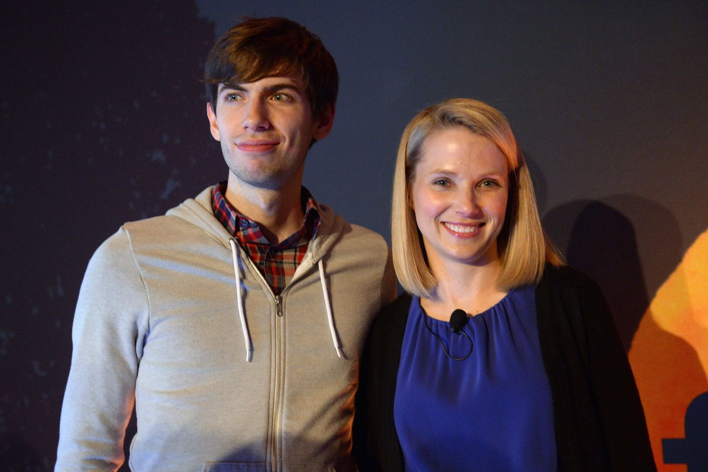 Yahoo CEO Marissa Mayer and Tumblr founder David Karp pose for a photo during an annoucement that Yahoo acquired the Tumblr blogging site, in New York, May 20, 2013.