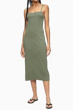 Calvin Klein Strappy Ribbed Midi Dress