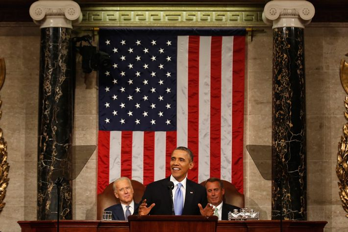 WASHINGTON, DC - JANUARY 28:  U.S. President Barack Obama delivers his State of the Union speech on Capitol Hill on January 28, 2014 in Washington, DC. In his fifth State of the Union address, Obama is expected to emphasize on healthcare, economic fairness and new initiatives designed to stimulate the U.S. economy with bipartisan cooperation. (Photo by Larry Downing-Pool/Getty Images)