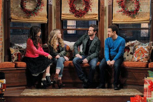 "GIRL MEETS WORLD - ""Girl Meets Home for the Holidays"" - It's Christmas at the Matthews, and Cory's best friend Shawn Hunter, Riley's grandparents, and Uncle Joshua are coming over for a holiday dinner. Meanwhile, Topanga works on executing the perfect meal to put her mother-in-law at ease while Shawn sees his likeness in Maya and forms a bond with her and Riley. Guest starring are Rider Strong as Shawn Hunter, Betsy Randle as Amy Matthews, William Russ as Alan Matthews and Uriah Shelton as Joshua Matthews.  Premieres Friday, December 5 (8:00 p.m.) on Disney Channel. (Disney Channel/Tony Rivetti)ROWAN BLANCHARD, SABRINA CARPENTER, RIDER STRONG, BEN SAVAGE"