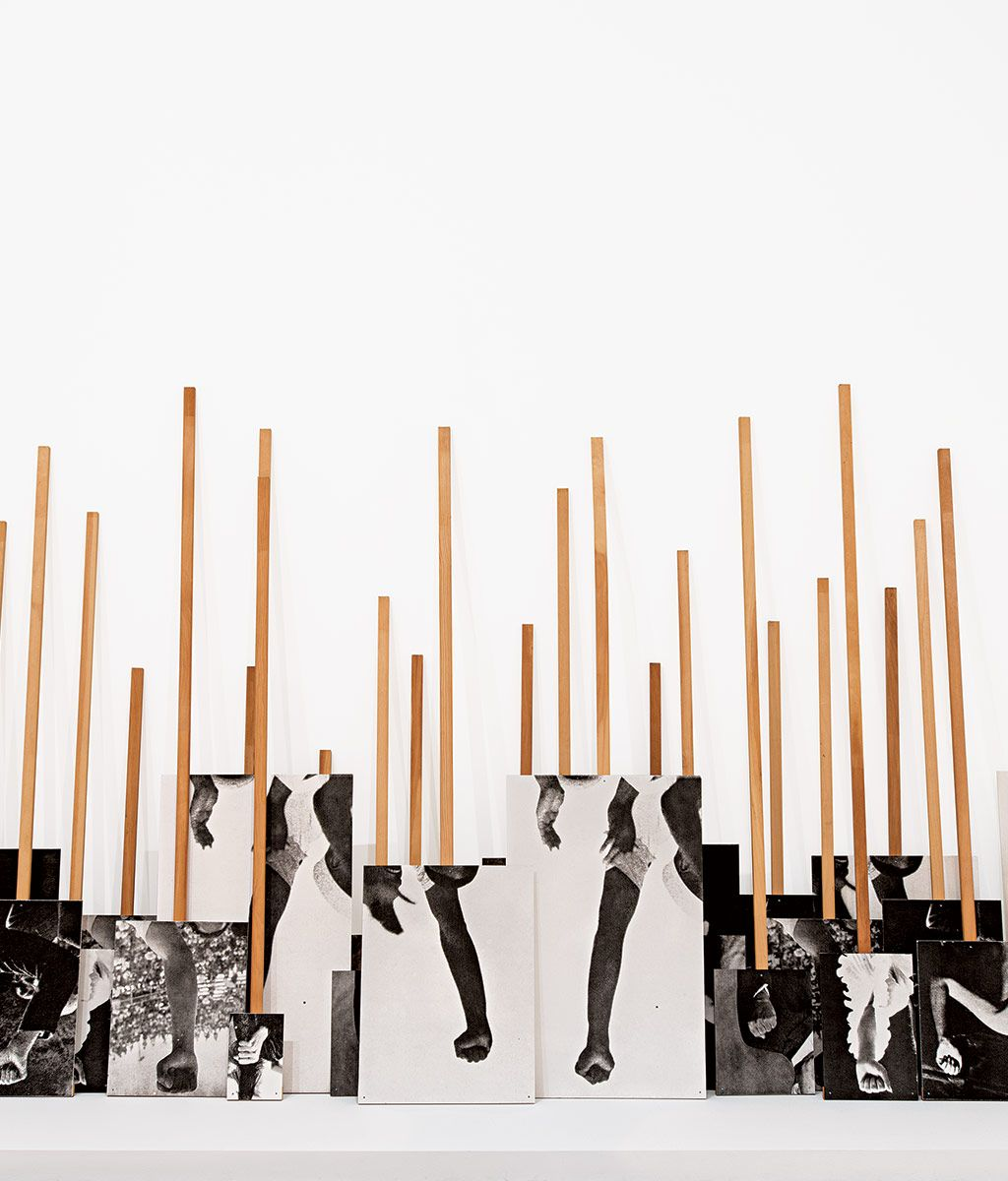 Annette Lemieux's Left Right Left Right (1995), turned upside down at the  Whitney Museum after the election. Courtesy of the artist and the Whitney  Museum ...