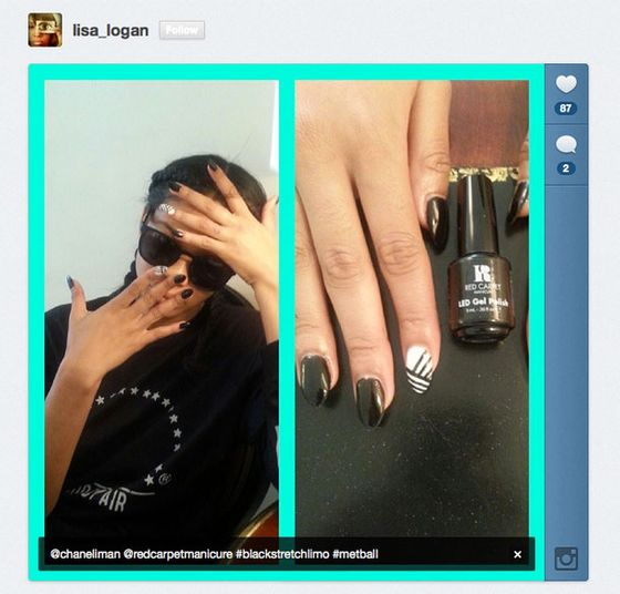 "<a href=""https://twitter.com/2lsquared"">@2lsquared</a> spent the afternoon painting <a href=""https://twitter.com/chaneliman"">@ChanelIman</a>'s nails with striped, contrasting hues in Red Carpet Manicure's Black Stretch Limo and White Hot lacquers."