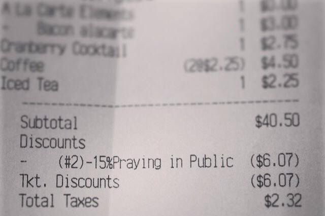 Forgive this receipt, for it has sinned. Or disciminated, maybe?