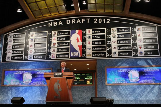 NEWARK, NJ - JUNE 28:  NBA Commissioner David Stern announces the number thirty overall pick by the Golden State Warriors during the first round of the 2012 NBA Draft at Prudential Center on June 28, 2012 in Newark, New Jersey. NOTE TO USER: User expressly acknowledges and agrees that, by downloading and/or using this Photograph, user is consenting to the terms and conditions of the Getty Images License Agreement.  (Photo by Elsa/Getty Images)