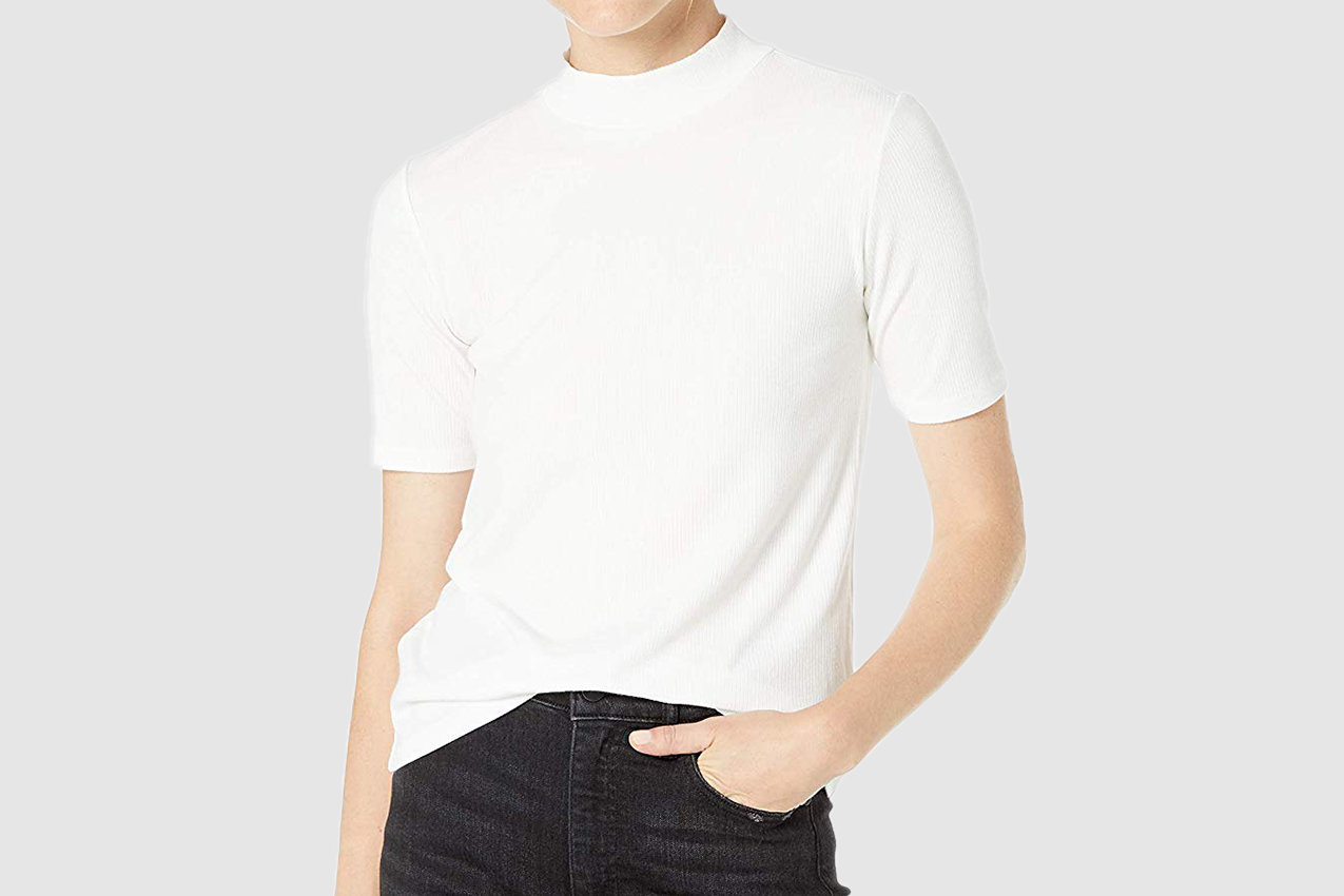 The Drop Women's Joanna Short Sleeve Mock Neck Ribbed T-Shirt