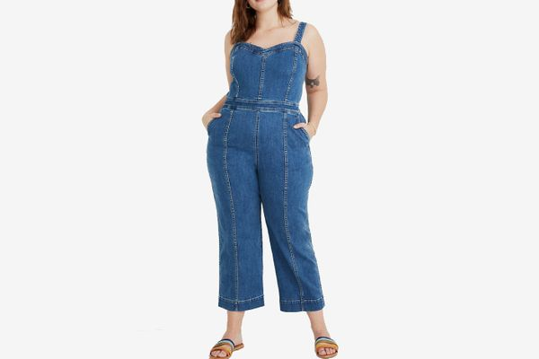 Madewell Denim Seamed Wide-Leg Jumpsuit in Saville Wash