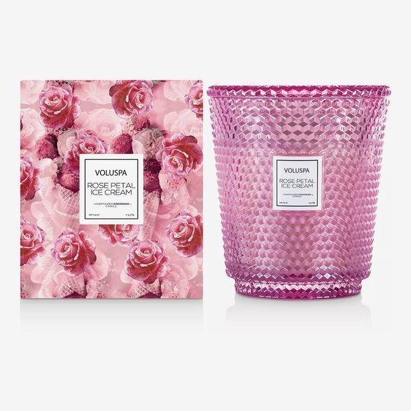 Voluspa Rose Petal Ice Cream Hearth Candle