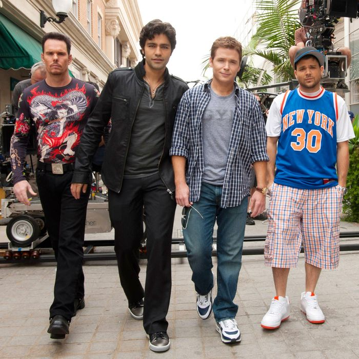ENTOURAGE, (from left): Kevin Dillon, Adrian Grenier, Kevin Connolly, Jerry Ferrara, 'Out With A Ban