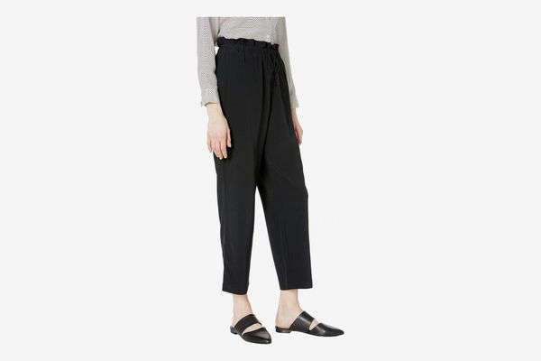 Eileen Fisher Ankle Length Straight Pants with Gathered Waist