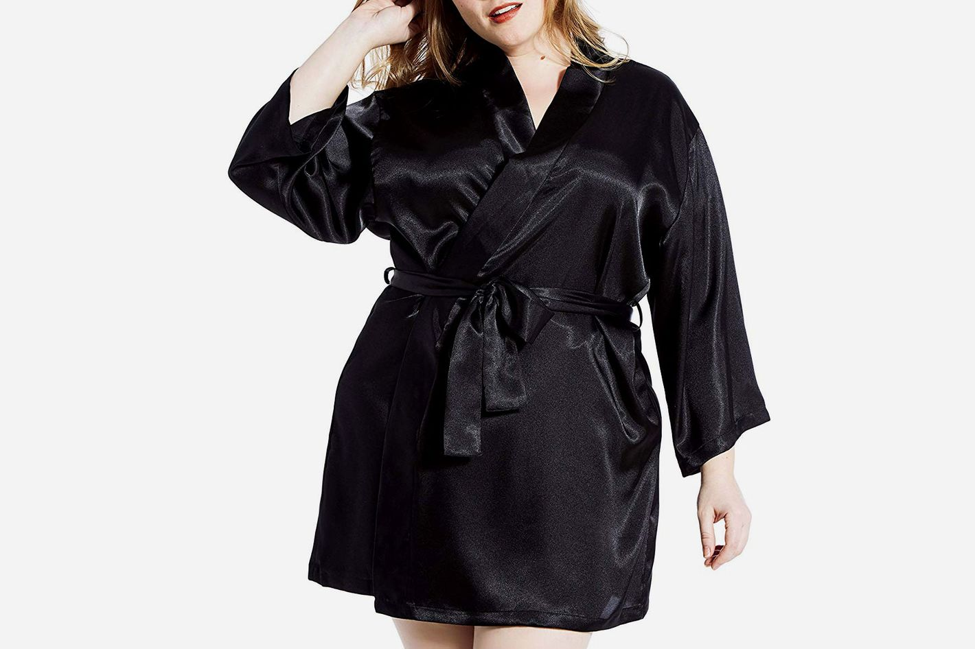 Jovannie Satin 3/4 Sleeve Plus Size Kimono Robe