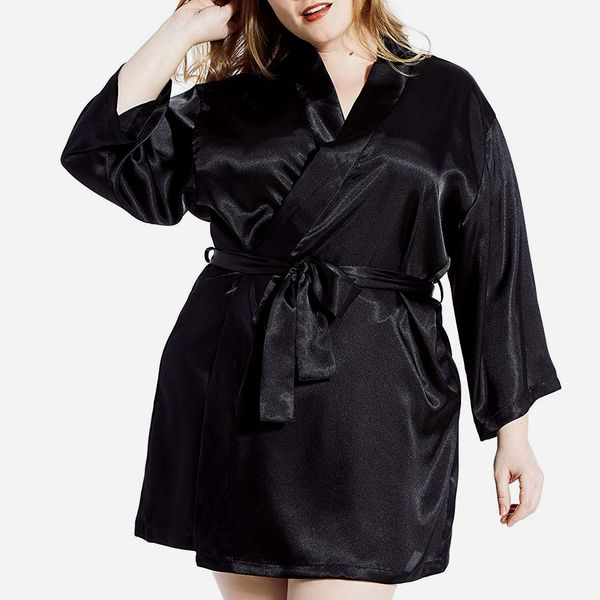 Jovannie Satin 3/4 Sleeve Plus-Size Kimono Robe