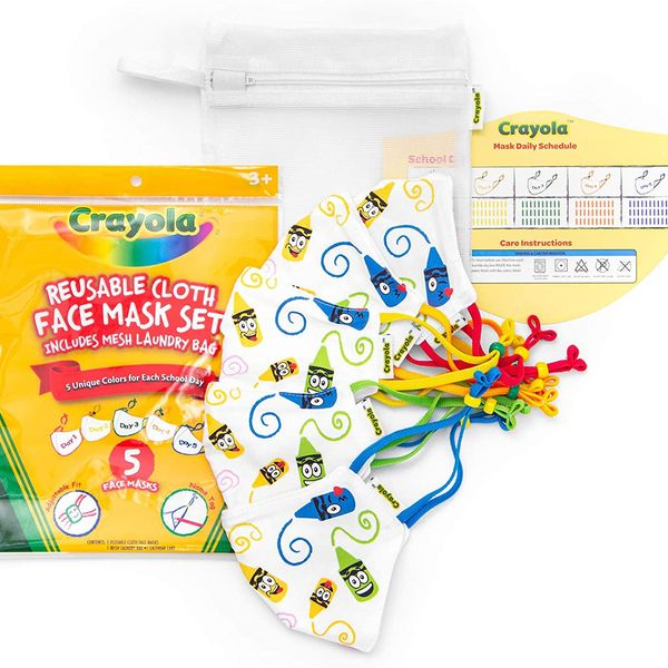 Crayola Kids Face Mask - 5 Reusable Cloth Face Masks Set