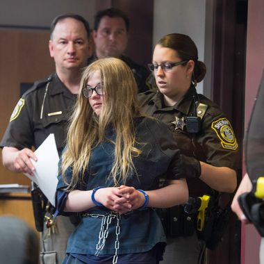 "02 Jun 2014, Waukesha, Wisconsin, USA --- Twelve year olds Morgan Geyser and Anissa Weier were charged with attempted first-degree intentional homicide after they stabbed their friend 19 times. The girls were trying to impress the internet character ""the slender man."" --- Image by ? Abe Van Dyke/Corbis"