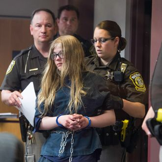 02 Jun 2014, Waukesha, Wisconsin, USA --- Twelve year olds Morgan Geyser and Anissa Weier were charged with attempted first-degree intentional homicide after they stabbed their friend 19 times. The girls were trying to impress the internet character