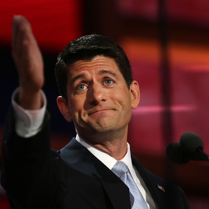 Representative Paul Ryan, Republican vice presidential candidate, gestures to his mother, Elizabeth 'Betty' Ryan, while speaking at the Republican National Convention (RNC) in Tampa, Florida, U.S., on Wednesday, Aug. 29, 2012. Ryan takes the stage tonight to address the RNC with a dual mission: to provide a spark, along with his big ideas about cutting the budget, to energize the party's base.