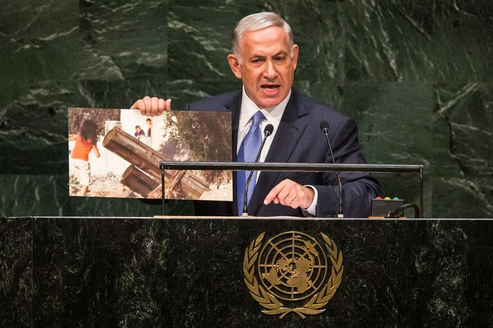 Prime Minister of Israel Benjamin Netanyahu speaks at the 69th United Nations General Assembly on September 29, 2014 in New York City. The annual event brings political leaders from around the globe together to report on issues meet and look for solutions.