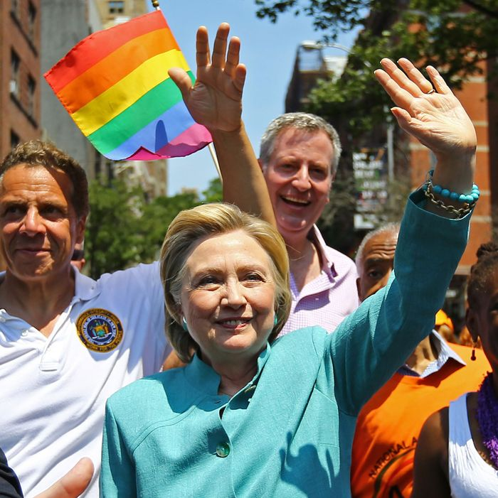 Hillary Clinton marches in New York's pride parade.