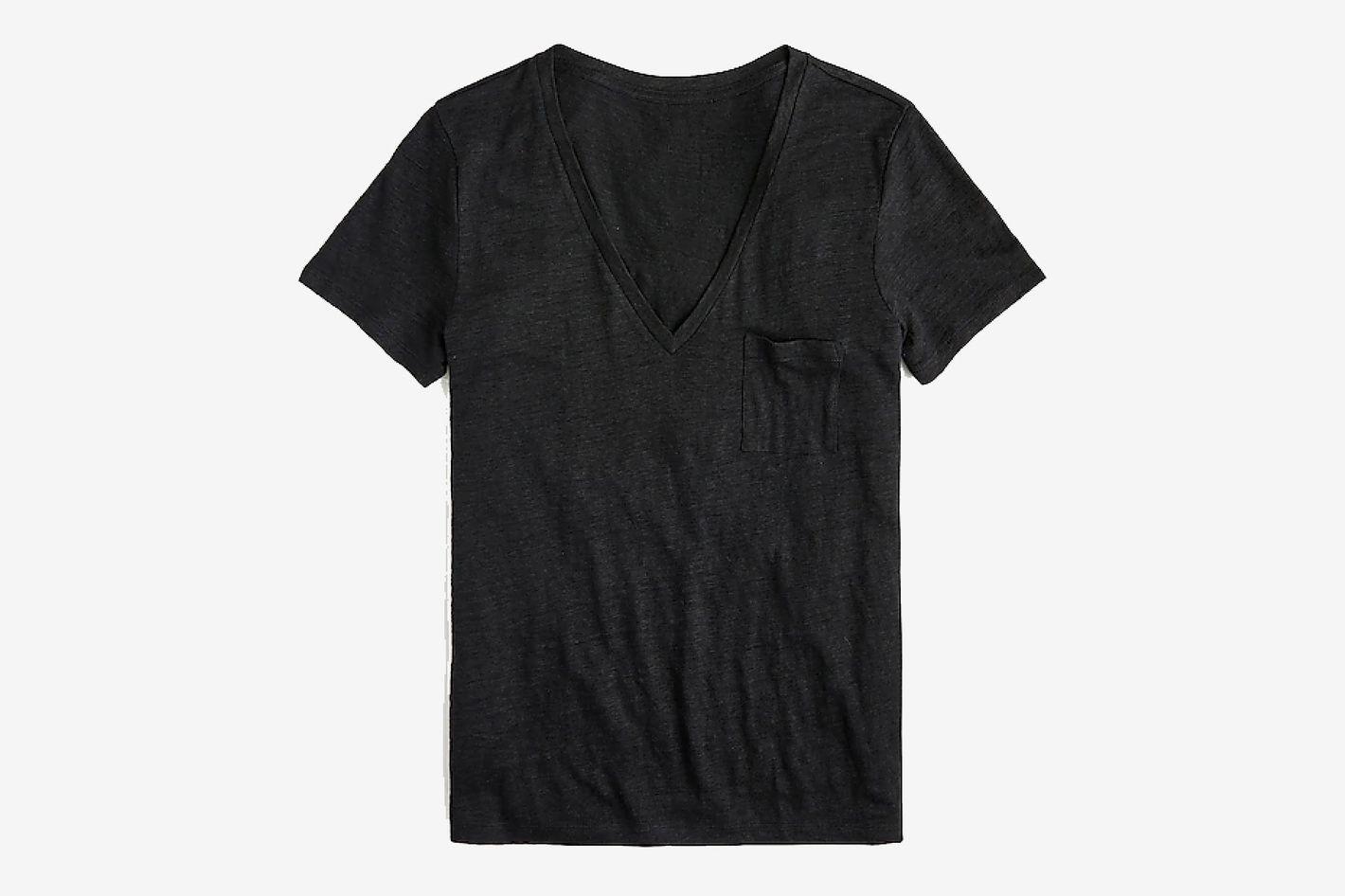 J.Crew Linen V-neck Pocket T-shirt