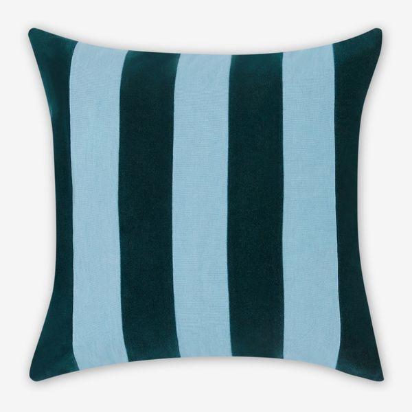 Bowker Stripe Velvet Cushion, 50 x 50cm, Storm Green & Zen Blue