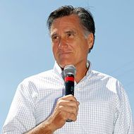 SALT LAKE CITY, UT- JUNE 24:  U.S. Republican presidential candidate Mitt Romney speaks from the back of a pick-up truck at the Hires Big H hamburger restaurant on June 24, 2011 in Salt Lake City, Utah.  Romney made the campaign stop in order to talk to small business owners in the Salt Lake area. (Photo by George Frey/Getty Images)