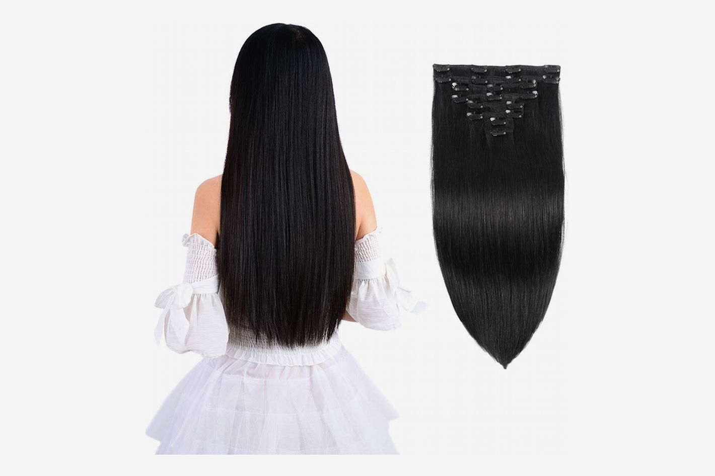 "Inmany Remy Clip in Hair Extensions, Natural Black, 18"", 100g, 8pcs"