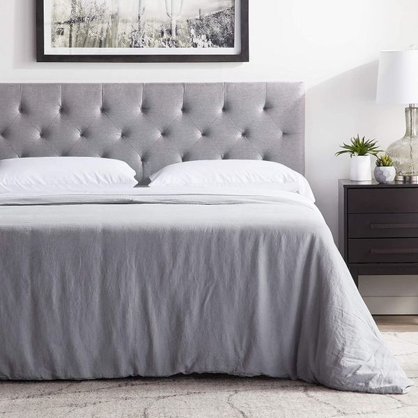 """LUCID Mid-Rise Upholstered Headboard - Adjustable Height from 34"""" to 46"""", King/Cal King, Stone"""