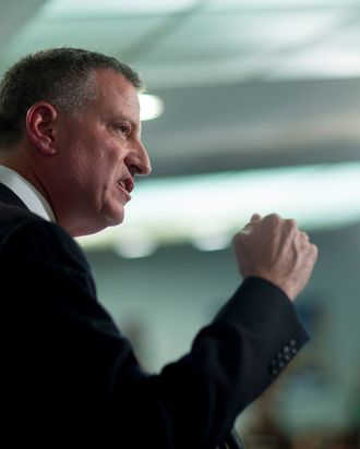 Bill de Blasio, mayor of New York, speaks during a Roosevelt Institute event at the National Press Club in Washington, D.C., U.S., on Tuesday, May 12, 2015. Joseph Stiglitz, the Nobel Prize-winning economist who popularized the term