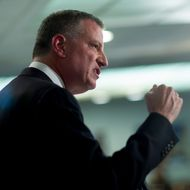 """Bill de Blasio, mayor of New York, speaks during a Roosevelt Institute event at the National Press Club in Washington, D.C., U.S., on Tuesday, May 12, 2015. Joseph Stiglitz, the Nobel Prize-winning economist who popularized the term """"the 1 percent"""" to spotlight increasing income inequality, headlined the first stop of a four-day U.S. tour by de Blasio. Stiglitz presented the study """"Rewriting the Rules for the American Economy: an Agenda for Shared Prosperity"""" at the event. Photographer: Andrew Harrer/Bloomberg via Getty Images"""