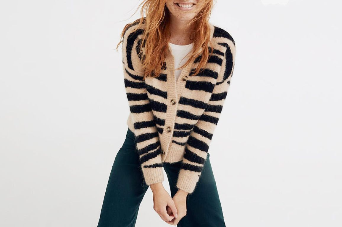 Madewell Deville Cardigan Sweater in Tiger Stripe