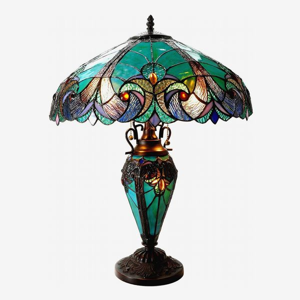 Chloe Lighting Liaison Tiffany-Style Victorian 3 Light Double Lit Table Lamp
