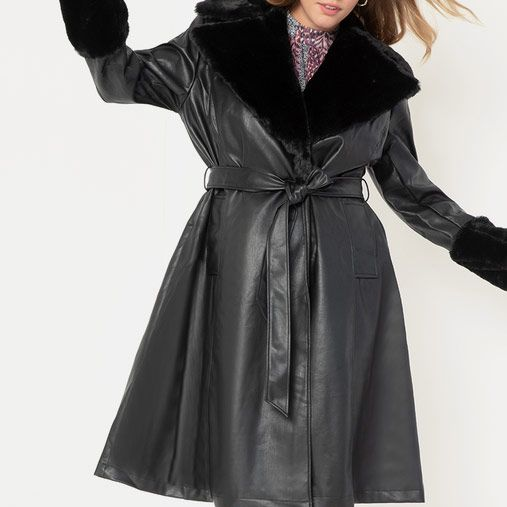 Eloquii Faux Leather Fit and Flare Coat with Fur Collar